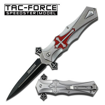 Tac Force 5 Inch Grey Red Cross Design Spring Assisted Folding Knife