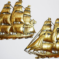 Vintage 60s Syroco Sailing Ships Gold Gilded Clipper Ships Wall Décor Set of 2 Gold Ships Schooner Nautical Beach Wall Art