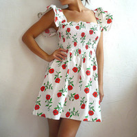 $59.00 COQUELICO French Vintage Smocked Mini Dress with Poppy Print by bOmode