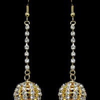 Disco Ball Crystal Earrings in Gold – bandbcouture.com