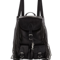 Vitello Calfskin Studded Fringe Backpack, Black
