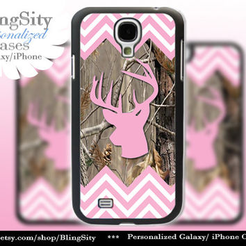Buckhead Antlers Galaxy S4 case S5 Pink Chevron Stripes Real Tree Camo Deer Personalized Samsung Galaxy S3 Case Note 2 3 Cover Zig Zag