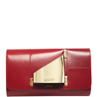 M'O Exclusive Glove Clutch Eiffel In Red Calf Leather With Engravement