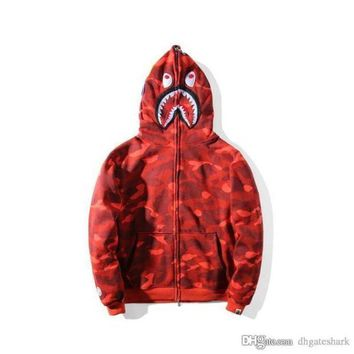 Tide Brand Camouflage Casual Red Hoodie Jacket Plus Cashmere Cardigan Sweater Men Women Hooded Loose Jacket Tops