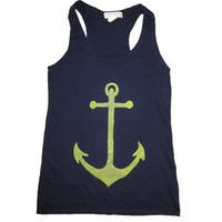 Women's ANCHOR racerback tank top- forever 21 size S (navy blue)
