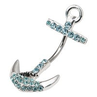 Anchor Belly Button Ring Turquoise Rhinestone Crystals Surgical Steel
