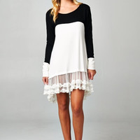 Bella Ruffled Dress - Black/White