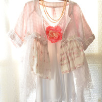 Romantic cottage chic tunic top, Bohemian gypsy cowgirl clothes, shabby chic clothing, french country chic for women, True rebel clothing
