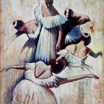 "Italian master painter ""Spring murmur"" original big painting of Roberto Martini Italy ballet scene"