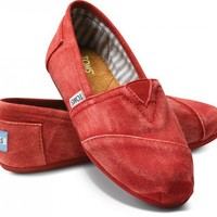 Red Stone-Washed Twill Women's Classics