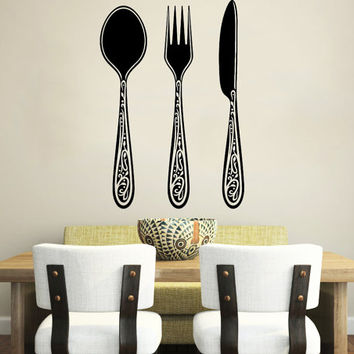 Wall Decal Vinyl Sticker Decals Knife Fork Spoon Vintage Pattern Cutlery Cafe Kitchen Decor Dining Room Interior Murals Window Decal AN735