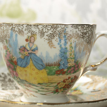 Tea Cup Trio, Crinoline Lady, Teacup Saucer and Side Plate, Tea Trio Set, Colclough China, Gold Chintz Design, Flower Garden - 1950s / 1960s