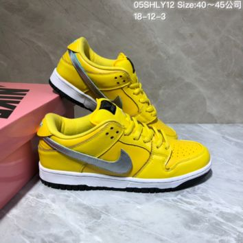 KUYOU N929 Nike SB Dunk Low Pro Velcro Logo Leather Skate Shoes Yellow