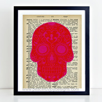 Printable Art, Sugar Skull, Day Of The Dead, Dictionary Art, 8x10, Instant Download, Skull Art Print,  Skull Art,