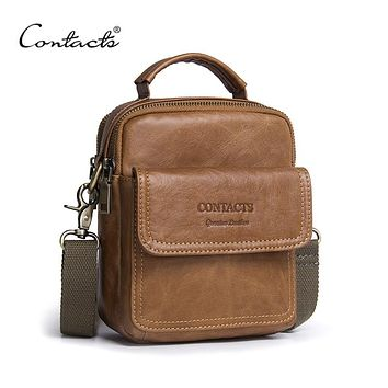 Brands Men's Bag New 2018 Hot Sale Genuine Leather 3 Color Zipper Bag Man Famous Brand Designers Brown Travel Bags CONTACT'S