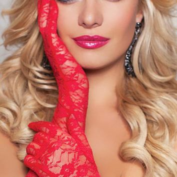 Floral Print Elbow-Length Stretch Lace Gloves