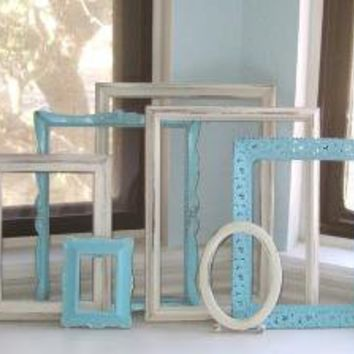 Turquoise and Cream Upcycled Frame Collection by TheArtofChic