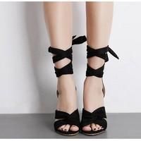 Babe Butterfly Cross Tie Sandals 2 Colors