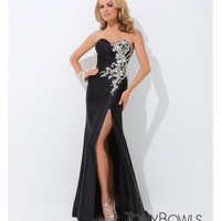 (PRE-ORDER) Tony Bowls 2014 Prom Dresses - Black Rhinestone Beaded Strapless Sweetheart Charmeuse Gown