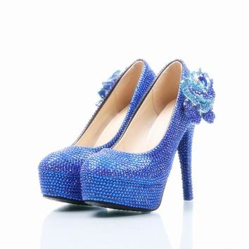 Shinning Crystal Flower Beadings Platform Stiletto High Heels Bridal Shoes