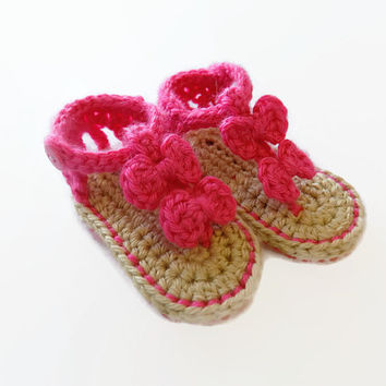 Baby Sandals, Crochet Baby Sandals, Baby Booties, Shoes, Pink