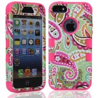 MagicSky Plastic + Silicone Tuff Dual Layer Hybrid Paisley Flower Pettern Case for Apple iPhone 5/5S - 1 Pack - Retail Packaging - Hot Pink