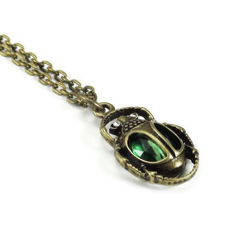 Bronze Scarab Necklace