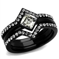 Black Stainless Steel Crystal Wedding Ring Set