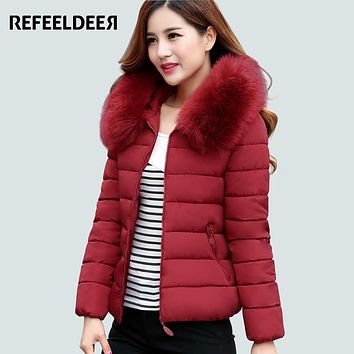 Womens Winter Jackets And Coats 2016 Faux Fur Collar Hooded Warm Parkas For Women Winter Coats Female Jacket Lady Manteau Femme
