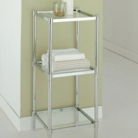 Chrome finish metal bathroom accessory 3 tier shelf with glass shelves
