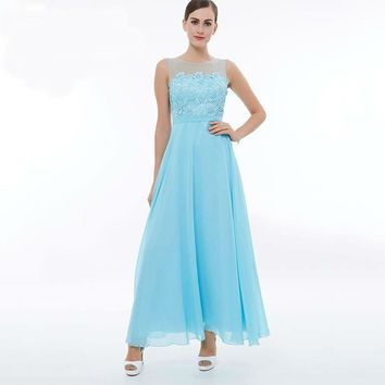 Scoop long ice blue sleeveless ankle length a line dresses lace zipper up women party gown