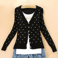 V-Neck Long Sleeve Heart Pattern Knitted Cardigan