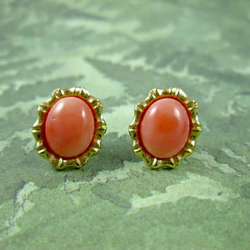 Vintage Angel Skin Coral 14k Yellow Gold Earrings Pierced Stud Post Style Oval Lovely Color Butterfly Backs Very Good Condition