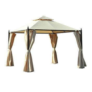 Outdoor Patio Garden 10 x 10 Ft Gazebo with Off White Canopy and Curtains