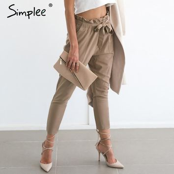 Simplee Chiffon khaki harem pants office lady summer casual pants female Streetwear sash black elastic high waist pants