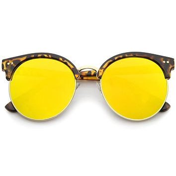 Modern Flat Front Oversize Round Mirror Lens Cat Eye Sunglasses A207