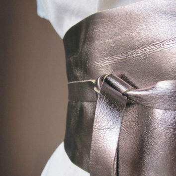 Bronze Leather Obi Belt by TheButterfliesShop on Etsy