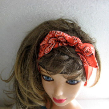 Bandana Hairband - Rockabilly 50s - Hair Scarf - Bandana Headband - Knotted Bandana - BOHO Hairband - Fabric Headband -  Women n Teens -