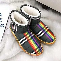 UGG X BURBERRY Winter New Women Warm Wool Snow Boots