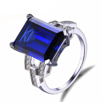 Silver Emerald Cut 9.6ct Blue Sapphire Cocktail Ring