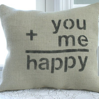 Burlap Happy Love Pillow