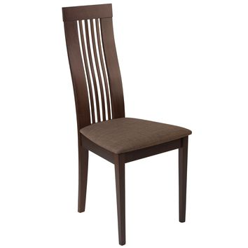 Hamlet Wood Dining Chair with Framed Rail Back and Fabric Seat