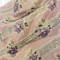 Vintage Long Scarf, Vintage Accessory, Pink With Purple flowers