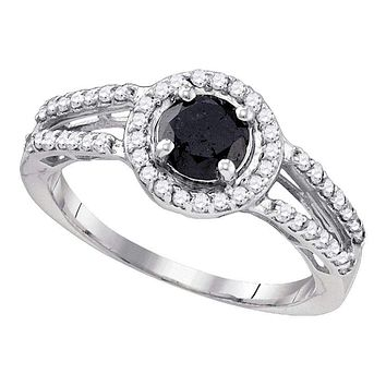 10kt White Gold Women's Round Black Color Enhanced Diamond Solitaire Bridal Wedding Engagement Ring 1-1/20 Cttw - FREE Shipping (US/CAN)