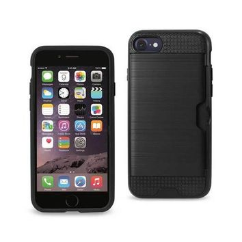REIKO IPHONE 7/ 6/ 6S SLIM ARMOR HYBRID CASE WITH CARD HOLDER IN BLACK
