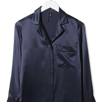 Pyjama-Style Satin Shirt by Boutique - Topshop
