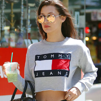 Fashion Tommy Jeans Letter Print Round-neck Long-sleeves Pullover Tops