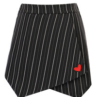Black Stripe Print Heart Embroidered Wrap Front Shorts