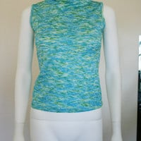 90s top / blue green space dye mock neck sleeveless shirt