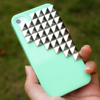 Half Studded Silver Pyramid Studs Phone Case